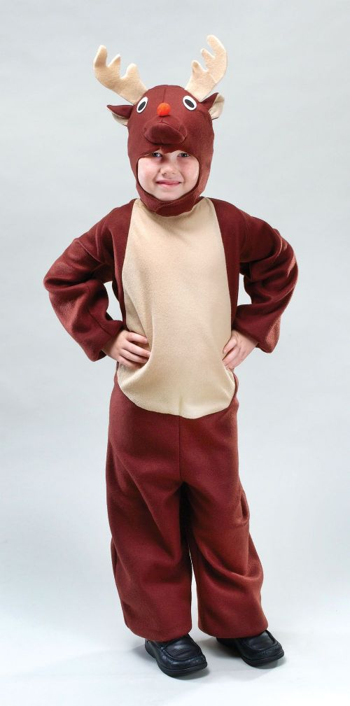 Childs Reindeer Costume Christmas Animal Festive Fancy Dress Outfit